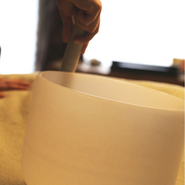meditation white singing bowl